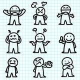 Emotion cartoon on  graph paper. Stock Photos