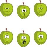 Emotion cartoon green apple set 008 Stock Photos