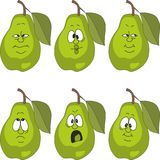 Emotion cartoon green pear set 005. Vector.Emotion cartoon green pear set 005 vector illustration