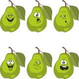 Emotion cartoon green pear set 014 Royalty Free Stock Photography
