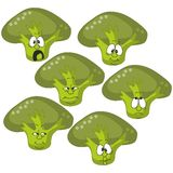 Emotion cartoon green spinach vegetables set 008 Royalty Free Stock Images