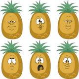 Emotion cartoon pineapple set 003. Vector.Emotion cartoon pineapple set 003 Stock Image
