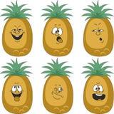 Emotion cartoon pineapple set 012 Stock Images