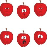 Emotion cartoon red apple set 002. Vector.Emotion cartoon red apple set 002 Stock Images