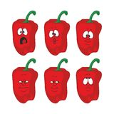 Emotion cartoon red pepper vegetables set 004 Stock Image