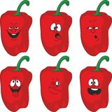 Emotion cartoon red pepper vegetables set 013. Vector. Emotion cartoon red pepper vegetables set 013 Stock Photography