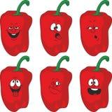Emotion cartoon red pepper vegetables set 013 Stock Photography