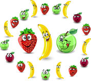 Emotion cartoon strawberries and apples,vector Royalty Free Stock Photography