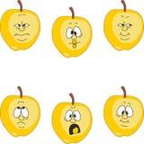 Emotion cartoon yellow apple set 009 Stock Photography