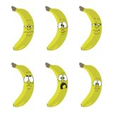 Emotion cartoon yellow banana Stock Photo