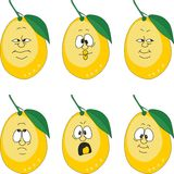 Emotion cartoon yellow lemon set 004 Royalty Free Stock Photo