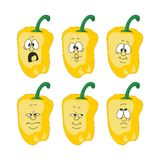 Emotion cartoon yellow pepper vegetables set 003 Stock Photos