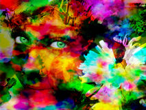 Emotion in color. Beauty young girl abstract portrait Royalty Free Stock Photography