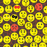 Emotion Connection Seamless Pattern_eps. Illustration of emotion faces and connection concept seamless pattern Stock Photo