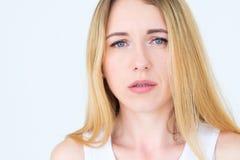 Emotion face moody grumpy sullen upset woman royalty free stock image