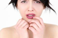 Emotion face sad worried upset crying woman royalty free stock images