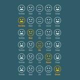 Emotion feedback white faces. Emotion feedback. white faces. Selected orange face Royalty Free Stock Images