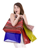 Emotion girl with  bag shopping. Stock Photo