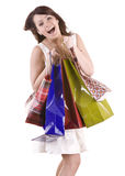 Emotion girl with bag shopping. Stock Photos