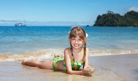 Emotion girl at sea coast. Royalty Free Stock Photo