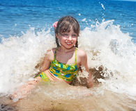 Emotion girl at sea coast. Royalty Free Stock Image