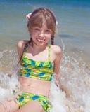 Emotion girl at sea coast. Royalty Free Stock Photography