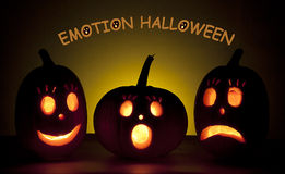 Emotion Halloween. Tree emotion haloween punpkins- smile, surprised and sad Royalty Free Stock Image
