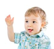 Emotion Happy Cute Baby Boy over white Royalty Free Stock Photos