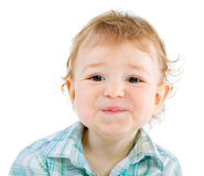 Emotion Happy Cute Baby Boy over white Royalty Free Stock Photography