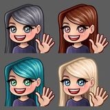 Emotion hi icons smile female with long hairs for social networks and stickers. Vector illustration Royalty Free Stock Image