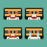 Emotion icon of tape cassette flat design. Illustration Royalty Free Stock Photography
