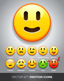 Emotion Icons. A vector set of emotion icons or smiley faces with various expressions Stock Photos