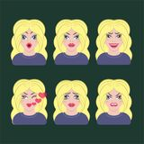 Emotion icons character. Girl blonde Royalty Free Stock Image