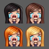 Emotion icons crying female with long hairs for social networks and stickers. Vector illustration Royalty Free Stock Photography