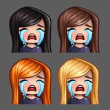 Emotion icons crying female with long hairs for social networks and stickers Royalty Free Stock Photos