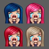Emotion icons crying female with long hairs for social networks and stickers Stock Photos