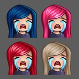 Emotion icons crying female with long hairs for social networks and stickers Stock Photo