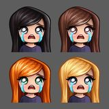 Emotion icons crying female with long hairs for social networks and stickers. Vector illustration Royalty Free Stock Photo
