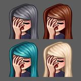 Emotion icons facepalm female with long hairs for social networks and stickers. Vector illustration royalty free illustration