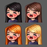 Emotion icons gasm female with long hairs for social networks and stickers. Vector illustration Stock Photography