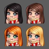 Emotion icons happy female eat popcorn with long hairs for social networks and stickers. Vector illustration Stock Photo