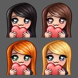 Emotion icons happy female with heart and long hairs for social networks and stickers. Vector illustration Royalty Free Stock Photo
