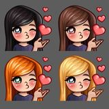 Emotion icons happy female kisses with long hairs for social networks and stickers. Vector illustration Stock Images