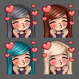 Emotion icons happy female kisses with long hairs for social networks and stickers. Vector illustration Stock Photography