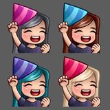 Emotion icons happy party female with long hairs for social networks and stickers. Vector illustration Stock Photography