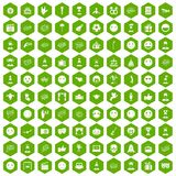 100 emotion icons hexagon green. 100 emotion icons set in green hexagon  vector illustration Stock Image