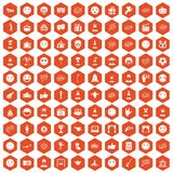 100 emotion icons hexagon orange. 100 emotion icons set in orange hexagon isolated vector illustration Stock Illustration