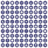 100 emotion icons hexagon purple. 100 emotion icons set in purple hexagon isolated vector illustration Stock Image