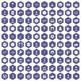 100 emotion icons hexagon purple. 100 emotion icons set in purple hexagon isolated vector illustration Royalty Free Illustration