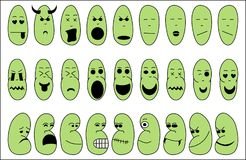 Emotion icons. Illustration of funny green emotion icons on a white background Stock Photo